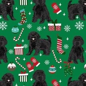 black cavoodle christmas fabric - cavapoo fabric, christmas dog fabric, cute cavoodle fabric - green