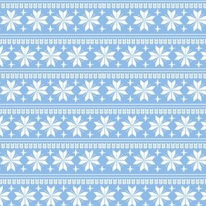 nordic christmas fabric - knit sweater fabric, ugly sweater fabric, scandi christmas fabric, winter cross fabric - sky blue