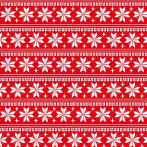 nordic christmas fabric - knit sweater fabric, ugly sweater fabric, scandi christmas fabric, winter cross fabric - bright red