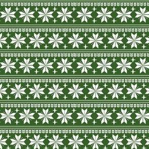 nordic christmas fabric - knit sweater fabric, ugly sweater fabric, scandi christmas fabric, winter cross fabric - green