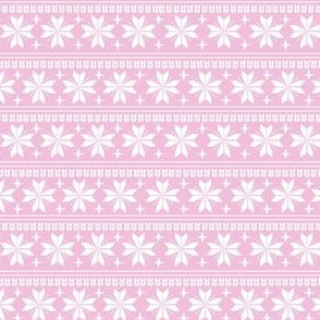 nordic christmas fabric - knit sweater fabric, ugly sweater fabric, scandi christmas fabric, winter cross fabric - pink