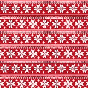 nordic christmas fabric - knit sweater fabric, ugly sweater fabric, scandi christmas fabric, winter cross fabric - red