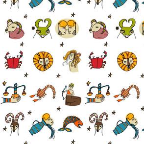 Retro Zodiac White Pattern