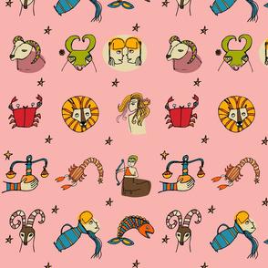 Retro Zodiac Pink Pattern