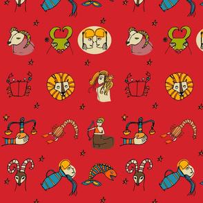 Retro Zodiac Red Pattern