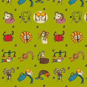 Retro Zodiac Green Pattern