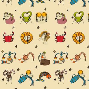 Retro Zodiac Beige  Pattern