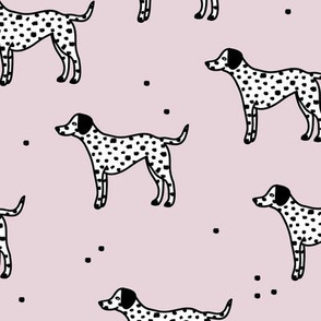 Little minimal dalmatian puppy dog friends kids autumn winter lilac  pink