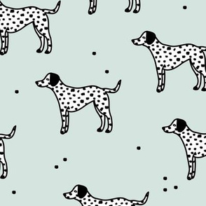 Little minimal dalmatian puppy dog friends kids autumn winter mint green