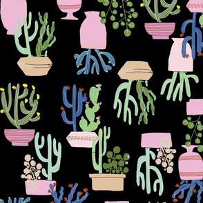 Potted Cactus Black