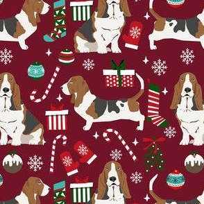 basset hound christmas dog fabric - holiday dog fabric, basset christmas, dog christmas - burgundy