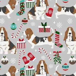 basset hound christmas dog fabric - holiday dog fabric, basset christmas, dog christmas - grey