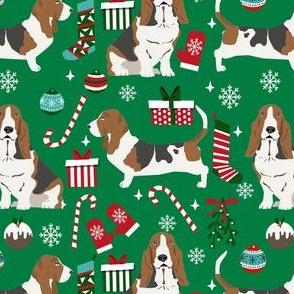 basset hound christmas dog fabric - holiday dog fabric, basset christmas, dog christmas - green