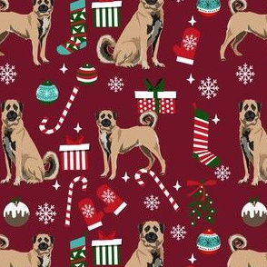 anatolian shepherd dog fabric - christmas dog fabric, anatolian christmas dog fabric - burgundy