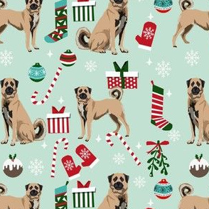 anatolian shepherd dog fabric - christmas dog fabric, anatolian christmas dog fabric -mint