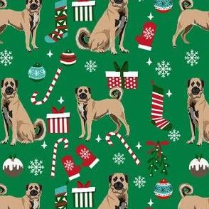 anatolian shepherd dog fabric - christmas dog fabric, anatolian christmas dog fabric -green