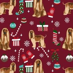 afghan hound christmas fabric, christams dog fabric, holiday fabric, afghan hound fabric - burgundy