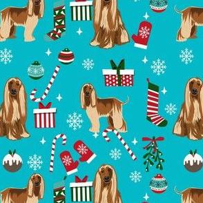 afghan hound christmas fabric, christams dog fabric, holiday fabric, afghan hound fabric -teal