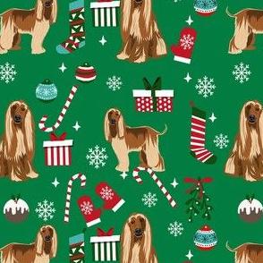 afghan hound christmas fabric, christams dog fabric, holiday fabric, afghan hound fabric - green
