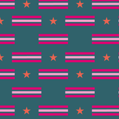 Teal Cerise Stars Stripes