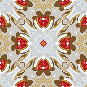 "8"" Gingerbread Square 1 | Red • Cream"