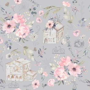 Countryside Scene on Gray Periwinkle