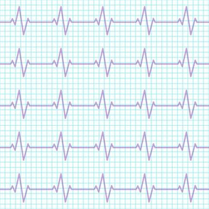 EKG - heart beat - sinus rhythm - purple on blue - LAD19