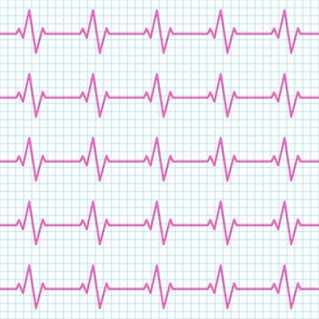 EKG - heart beat - sinus rhythm - pink on blue - LAD19