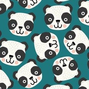 Happy scandi pandas on teal