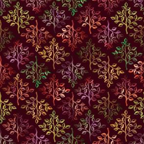 Fall Leaves on Maroon by ArtfulFreddy