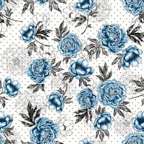 "Helen's Vintage Blue Peonies V1 (White) 8"""