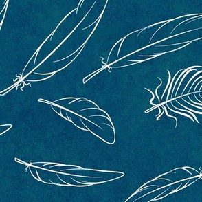 Feather on Dark Blue Green Haze