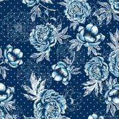 "Helen's Vintage Blue Peonies V1 (navy) 24"""