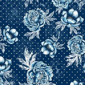 "Helen's Vintage Blue Peonies V2 (navy) 12"""