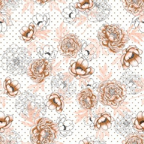 """Helen's Vintage Rose Peonies (white) 8"""""""