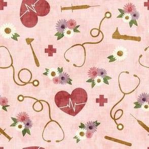 floral nurse melody - nursing - syringe, ekg, stethoscope - rose - LAD19