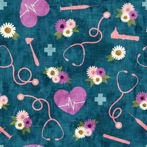 floral nurse melody - nursing - syringe, ekg, stethoscope -  teal and purple - LAD19