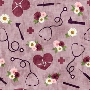 floral nurse melody - nursing - syringe, ekg, stethoscope - mauve - LAD19