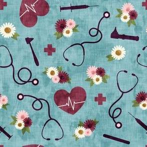 floral nurse melody - nursing - syringe, ekg, stethoscope -  blue 2 - LAD19