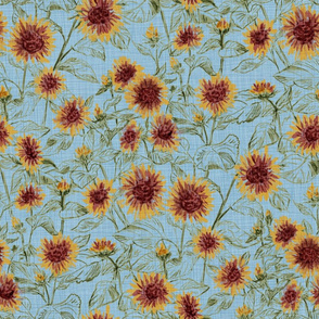 """Blazing Sunflower Meadow (sage-dusty blue) 18"""""""