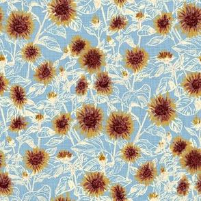 """Blazing Sunflower Meadow (vanilla-dusty blue) 8"""""""