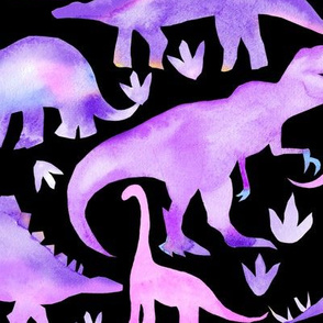 Watercolour dinosaurs - purple on black - larger scale
