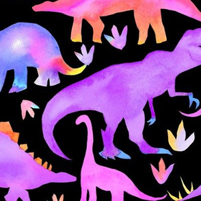 Watercolour dinosaurs  - purple & multi  on black - large scale