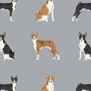 basenji dog fabric - black basenji dog, brindle basenji, basenji fabric, dog fabric, dogs fabric, cute dog, pet - grey