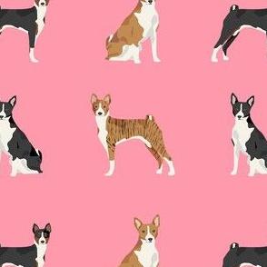 basenji dog fabric - black basenji dog, brindle basenji, basenji fabric, dog fabric, dogs fabric, cute dog, pet - pink