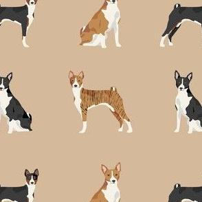 basenji dog fabric - black basenji dog, brindle basenji, basenji fabric, dog fabric, dogs fabric, cute dog, pet - tan