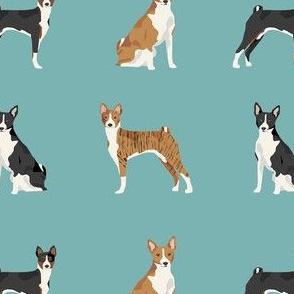 basenji dog fabric - black basenji dog, brindle basenji, basenji fabric, dog fabric, dogs fabric, cute dog, pet - blue