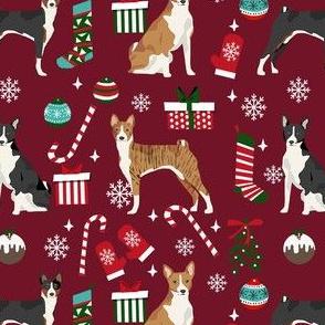 basenji christmas dog fabric, christmas fabric, dog fabric, basenji fabric, brindle  basenji, black basenji - ruby