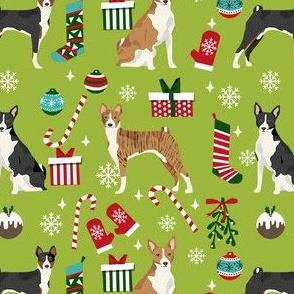 basenji christmas dog fabric, christmas fabric, dog fabric, basenji fabric, brindle  basenji, black basenji - lime