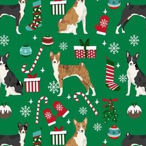 basenji christmas dog fabric, christmas fabric, dog fabric, basenji fabric, brindle  basenji, black basenji - green